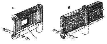 Рис. 3. Види закладень:а. з дощок, б. з колод: 1. вертикальний отвір