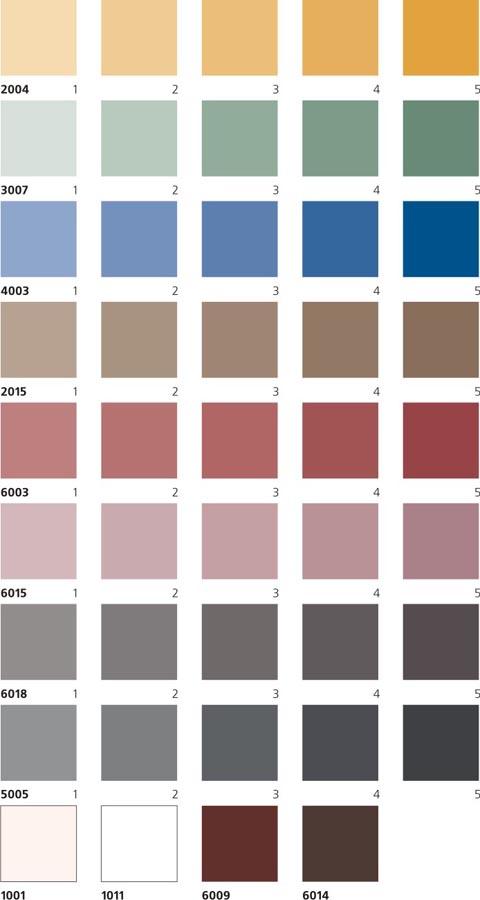 Выбор цвета краски по колеровочной таблице