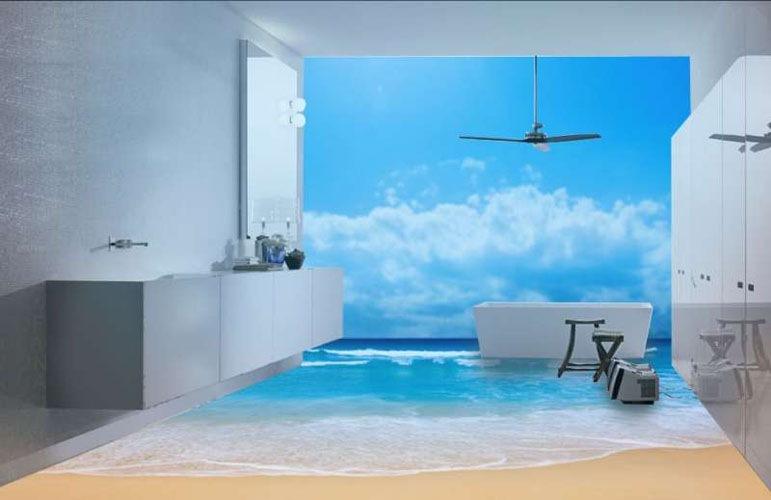 Пространство ванной комнаты расширилось за счет правильного подбора морского пейзажа на поверхность стен и пола