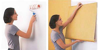 Нанесение клея на стену и приклеивания полотна обоев